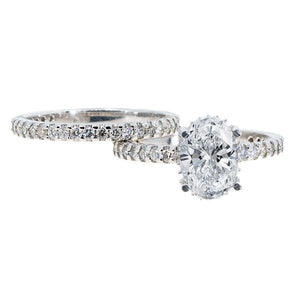 14KT White Gold 0.95ctw Oval Cut Prong Set Halo Diamond Wedding Set - Giorgio Conti Jewelers