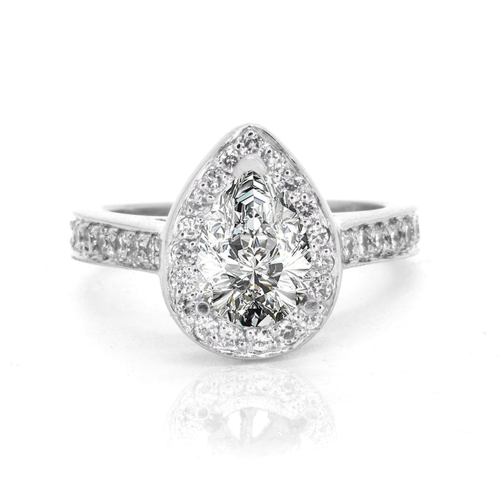 14KT White Gold 1.00ctw Pear Cut Pave Set Halo Diamond Engagement Ring - Giorgio Conti Jewelers