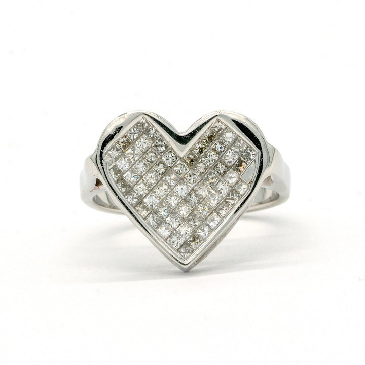 14KT White Gold 1.00CTW Princess Cut Invisible Set Natural Diamond Heart Cocktail Ring - Giorgio Conti Jewelers