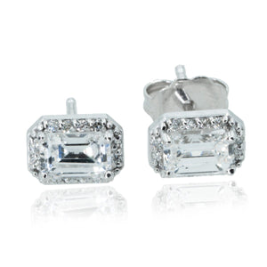 14KT White Gold 1.01CTW Emerald Halo Stud Earrings - Giorgio Conti Jewelers