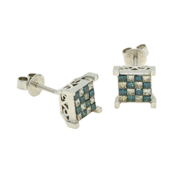 14KT White Gold 1.03ctw Princess Cut Invisible Set Blue and White Diamond Earrings - Giorgio Conti Jewelers