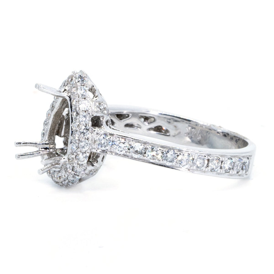 14KT White Gold 1.07ctw Pear Cut Pave Prong Set Diamond Engagement Ring - Giorgio Conti Jewelers