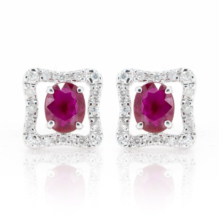 14kt White Gold 1.09ctw NATURAL Ruby and Diamond Halo Stud Earrings Fine Rubies - Giorgio Conti Jewelers