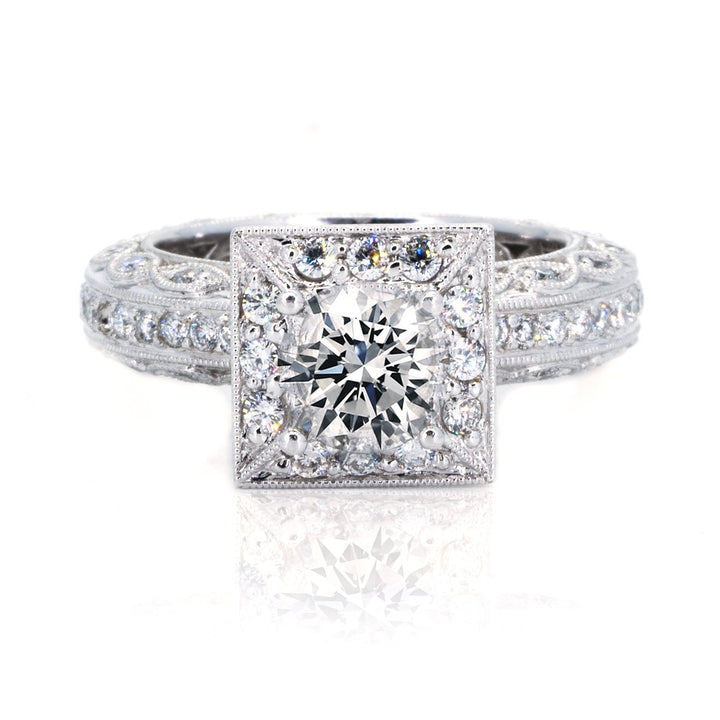14KT White Gold 1.10ctw Round Cut Pave Miligrain Set Diamond Engagement Ring - Giorgio Conti Jewelers