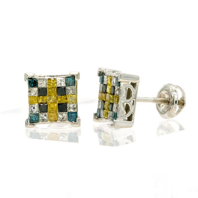 14KT White Gold 1.15CTW Natural Multi-Colored Diamond Stud Earrings - Giorgio Conti Jewelers