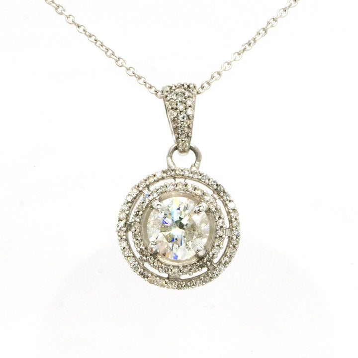 14KT White Gold 1.15CTW Round Cut Prong Set Diamond Halo Pendant - Giorgio Conti Jewelers