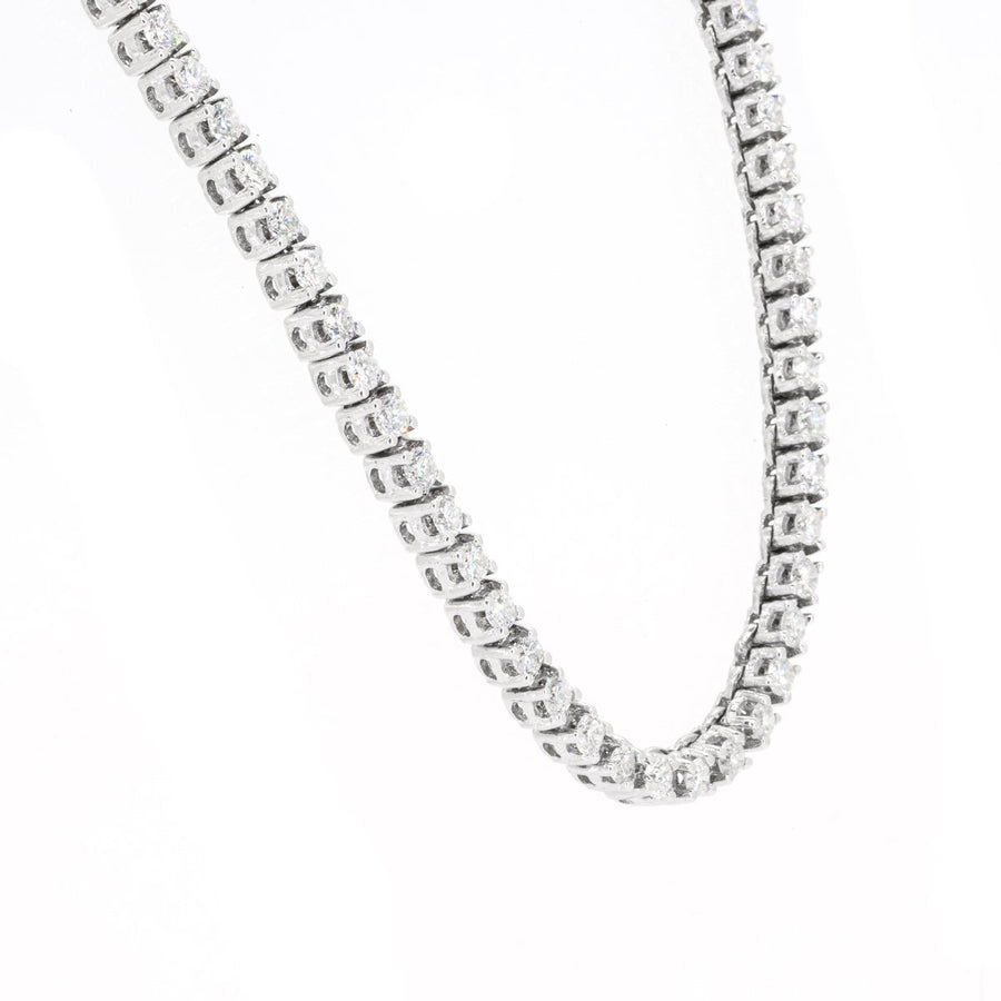 14KT White Gold 12.00CTW Brilliant Round Diamond Necklace - Giorgio Conti Jewelers