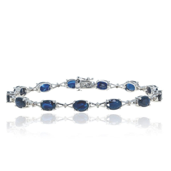14kt White Gold 12.25ctw Large Natural Sapphire and Diamond Tennis Bracelet - Giorgio Conti Jewelers