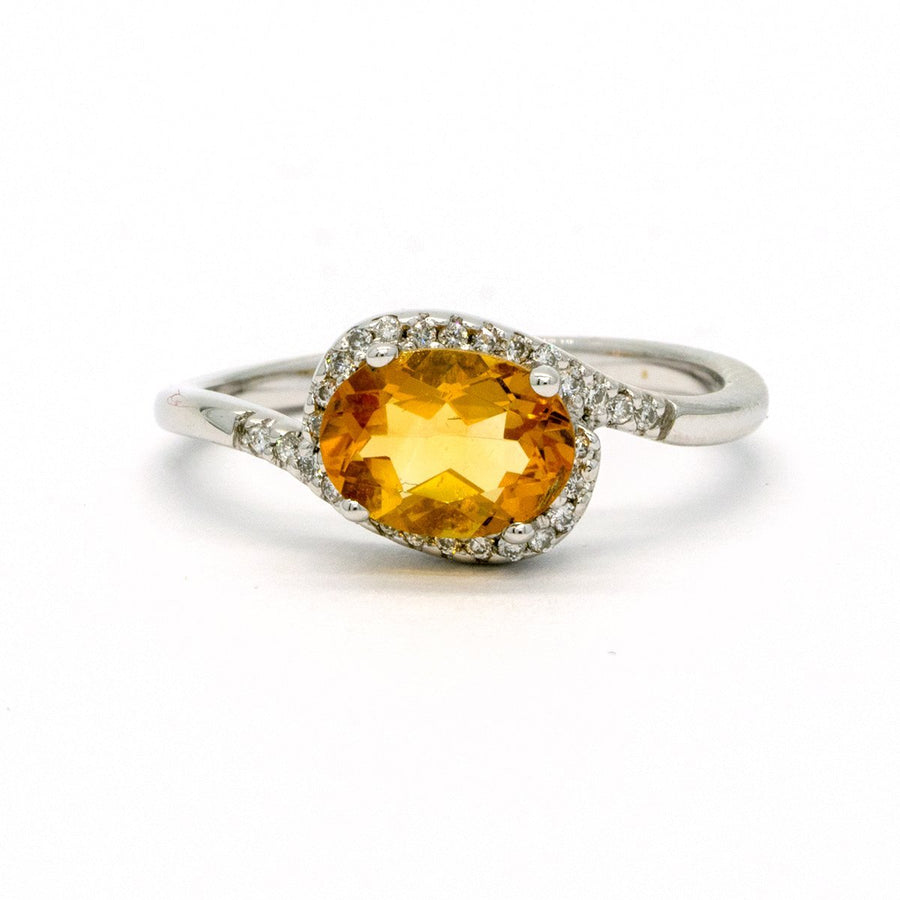 14KT White Gold 1.24CTW Oval Cut Prong Set Natural Citrine and Diamond Halo Ring - Giorgio Conti Jewelers