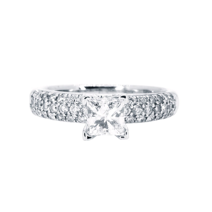 14kt White Gold 1.25ct Princess Cut Diamond Center W/ Round Pave Diamond Accents Engagement Wedding Ring - Giorgio Conti Jewelers