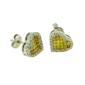 14KT White Gold 1.25ctw Round and Princess Cut White and Yellow Diamond Heart Earrings - Giorgio Conti Jewelers