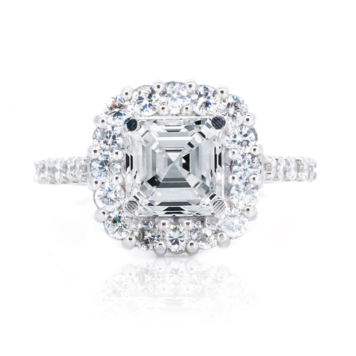 14KT White Gold 1.35ctw Asscher Cut Prong Set Cushion Halo Diamond Engagement Ring - Giorgio Conti Jewelers