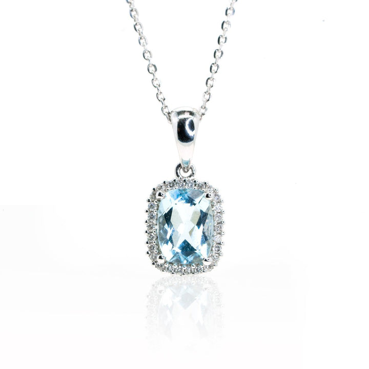 14kt White Gold 1.35ctw Natural Cushion Cut Aquamarine Diamond Halo Pendant - Giorgio Conti Jewelers