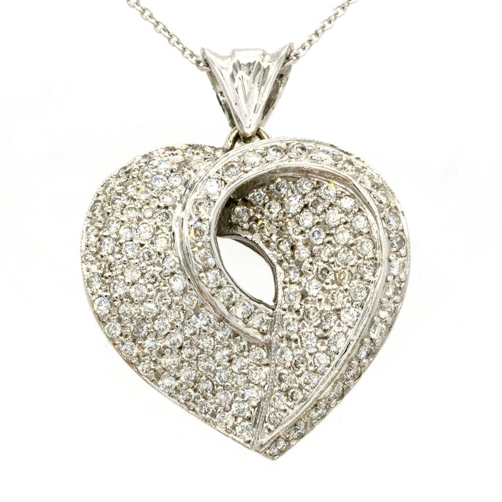 14KT White Gold 1.35CTW Round Cut Pave Set Diamond Heart Pendant - Giorgio Conti Jewelers