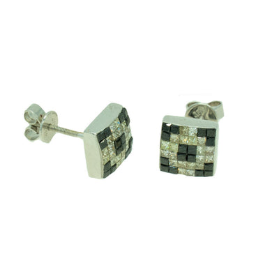 14KT White Gold 1.36ctw Princess Cut Invisible Set Black and White Diamond Earrings - Giorgio Conti Jewelers