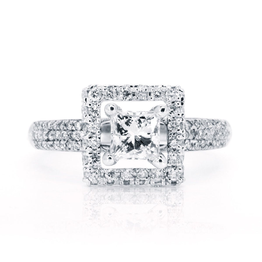 14kt White Gold 1.40ctw NATURAL Princess Cut Diamond Engagement Wedding Ring - Giorgio Conti Jewelers