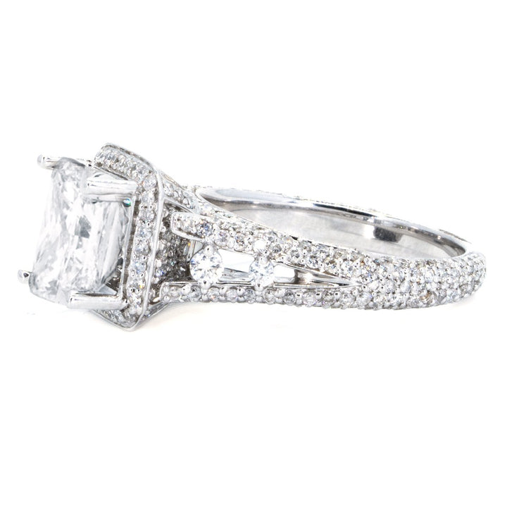 14KT White Gold 1.40ctw Princess Cut Pave Prong Set Diamond Engagement Ring - Giorgio Conti Jewelers