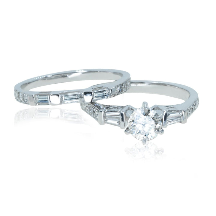 14KT White Gold 1.40CTW Round & Baguette Diamond Engagement Ring & Wedding Band Set - Giorgio Conti Jewelers