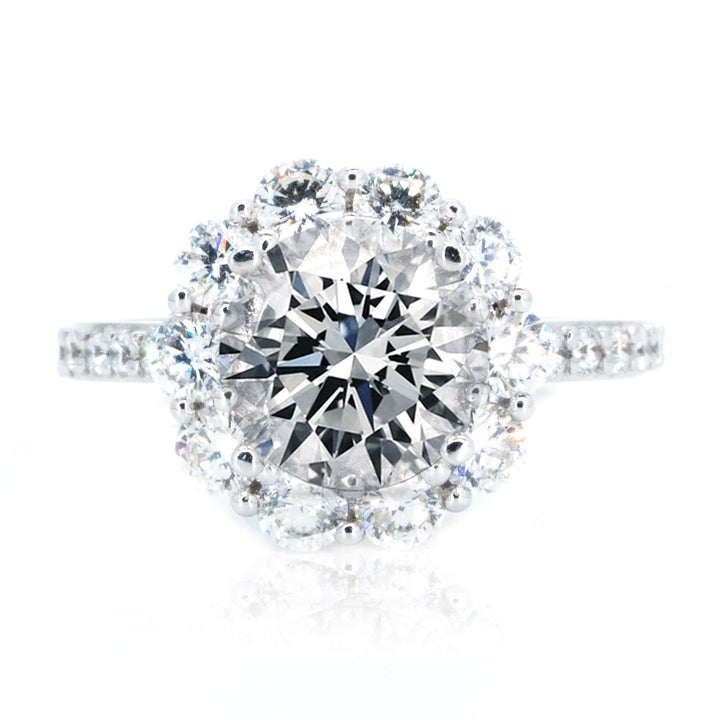 14KT White Gold 1.45ctw Round Cut Prong Set Halo Diamond Engagement Ring - Giorgio Conti Jewelers