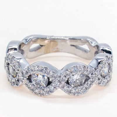 14KT White Gold 1.4ctw Round Brilliant Cut Channel and Prong Set Twist Diamond Band - Giorgio Conti Jewelers