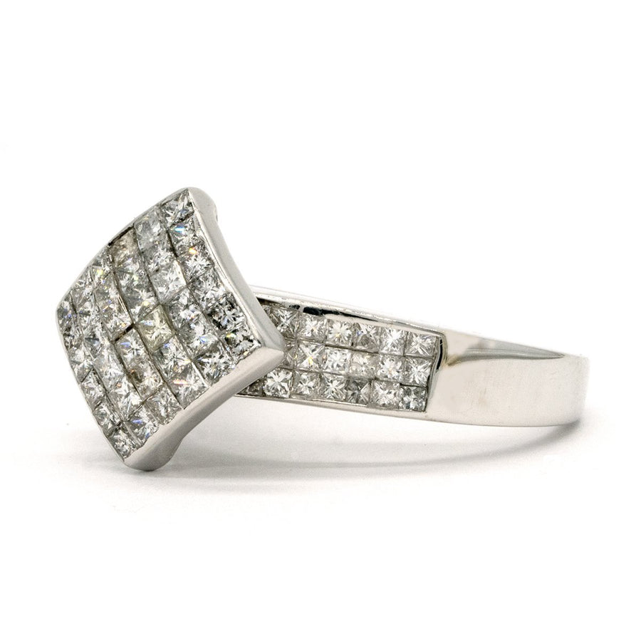 14KT White Gold 1.50CTW Princess Cut Invisible Set Natural Diamond Cocktail Ring - Giorgio Conti Jewelers