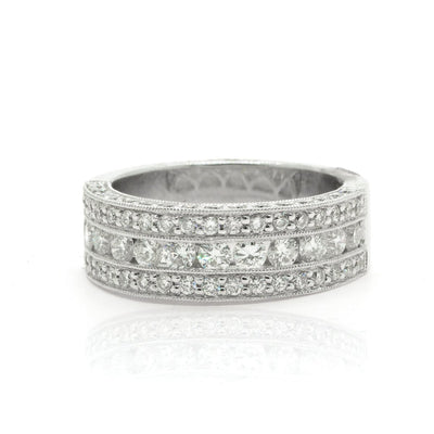 14KT White Gold 1.50ctw Round Cut Miligrain Pave Set Diamond Band - Giorgio Conti Jewelers