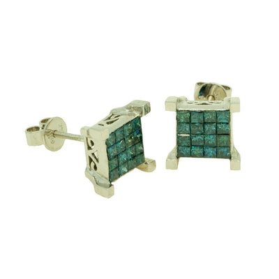 14KT White Gold 1.63ctw Princess Cut Invisible Set Blue Diamond Earrings - Giorgio Conti Jewelers