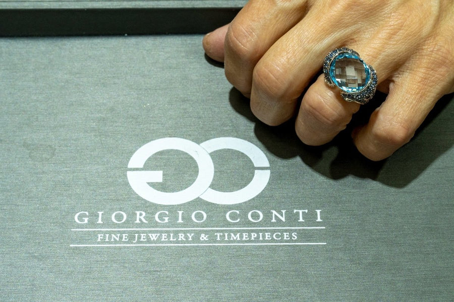 14KT White Gold 16.70CTW Natural Blue Topaz Sapphire and Diamond Ring - Giorgio Conti Jewelers
