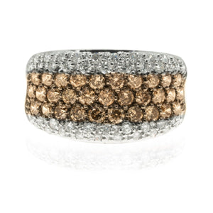 14KT White Gold 1.89CTW Chocolate Diamond Pave Ring With White Diamond Accents - Giorgio Conti Jewelers