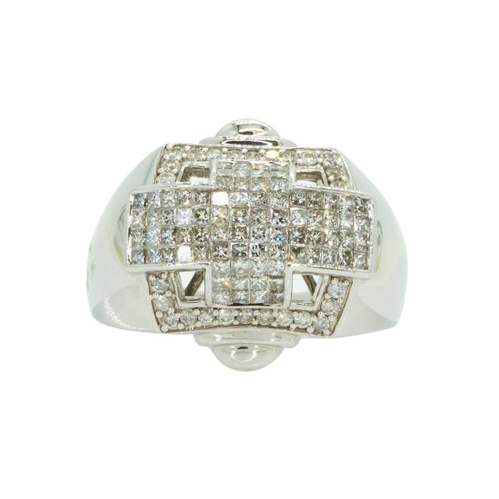 14KT White Gold 1.95ctw Princess and Round Cut Diamond Band - Giorgio Conti Jewelers