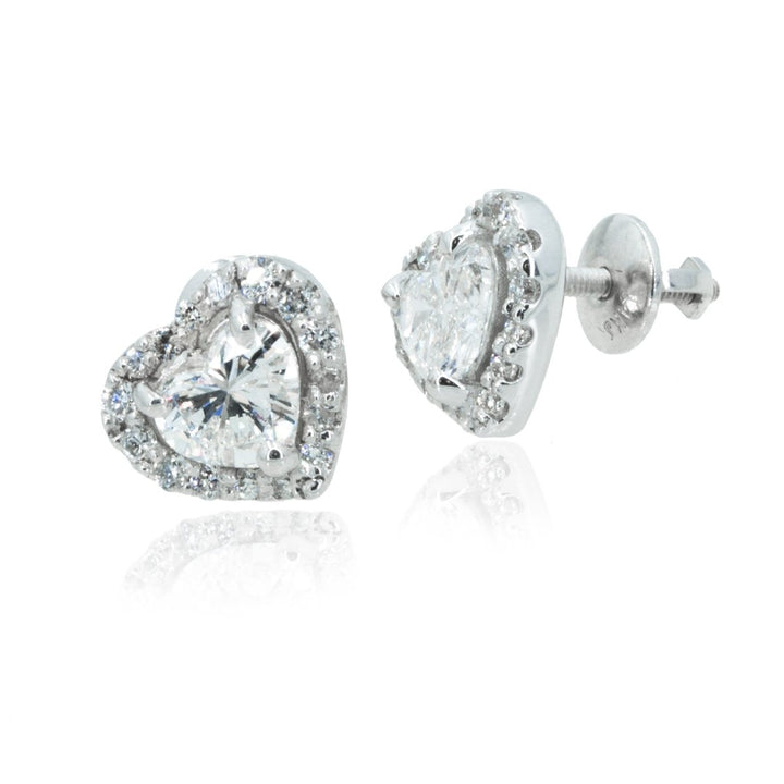 14KT White Gold 1.97CTW Heart Shaped Halo Stud Earrings - Giorgio Conti Jewelers