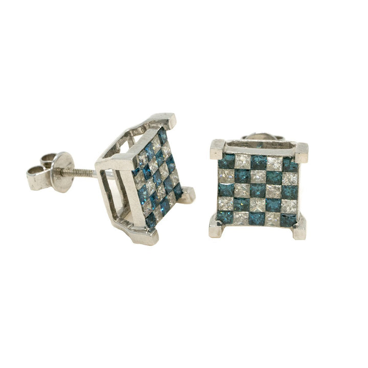 14KT White Gold 2.05ctw Princess Cut Invisible Set Blue and White Diamond Earrings - Giorgio Conti Jewelers