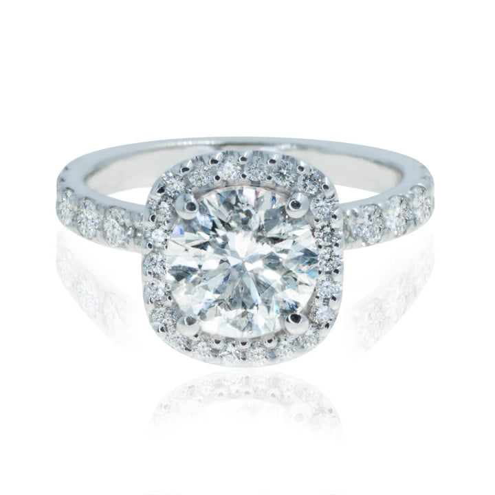 14KT White Gold 2.19CTW Round Cut Cushion Halo Diamond Engagement Ring - Giorgio Conti Jewelers