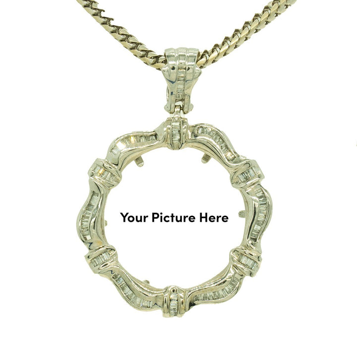 14KT White Gold 2.20ctw Baguette Cut Channel Set Diamond Wave Memory Pendant - Giorgio Conti Jewelers