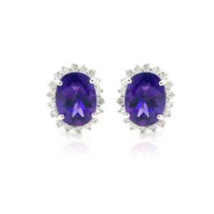 14kt White Gold 2.25ctw NATURAL Oval Amethyst and Diamond Gemstone Halo Stud Earrings - Giorgio Conti Jewelers