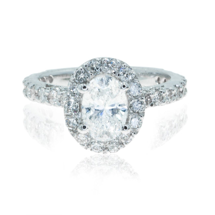 14KT White Gold 2.27CTW Oval Cut Halo Diamond Engagement Ring - Giorgio Conti Jewelers