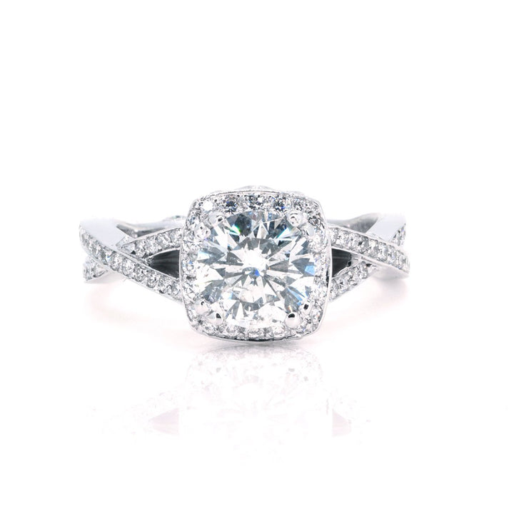 14KT White Gold 2.35CTW Diamond Halo Twist Engagement Ring - Giorgio Conti Jewelers