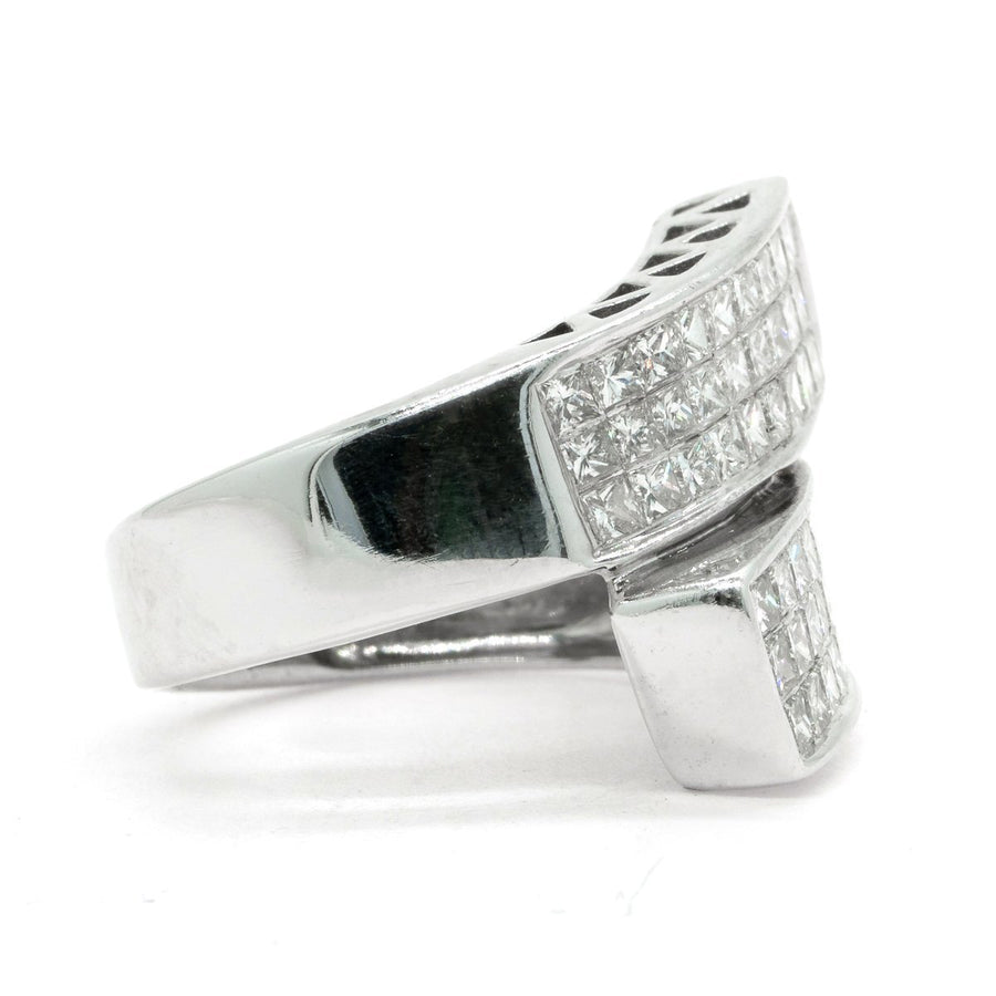14KT White Gold 2.50ctw Princess Cut Invisible Set Diamond Ring - Giorgio Conti Jewelers