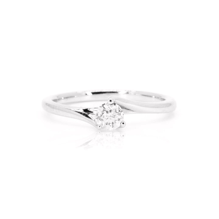 14kt White Gold .25ct NATURAL Round Diamond Solitaire Engagement Wedding Ring - Giorgio Conti Jewelers