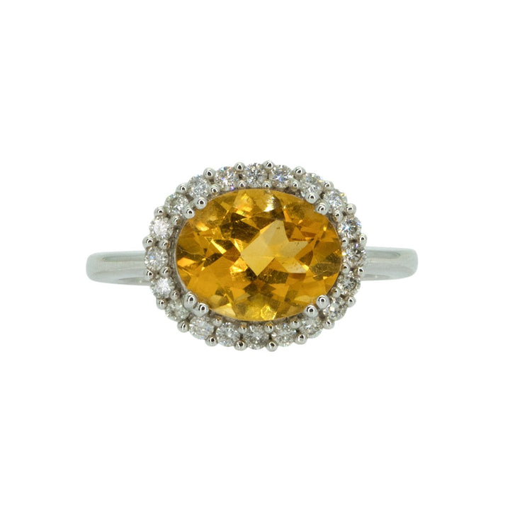 14KT White Gold 2.60ctw Oval Cut Prong Set Citrine And Round Cut Diamond Halo Ring - Giorgio Conti Jewelers