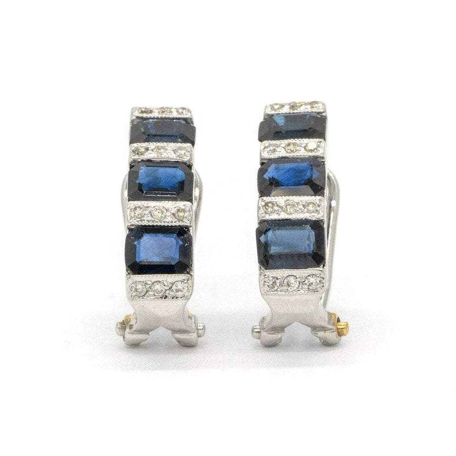 14KT White Gold 2.98CTW Emerald Cut Channel Set Natural Sapphire and Diamond Earrings - Giorgio Conti Jewelers