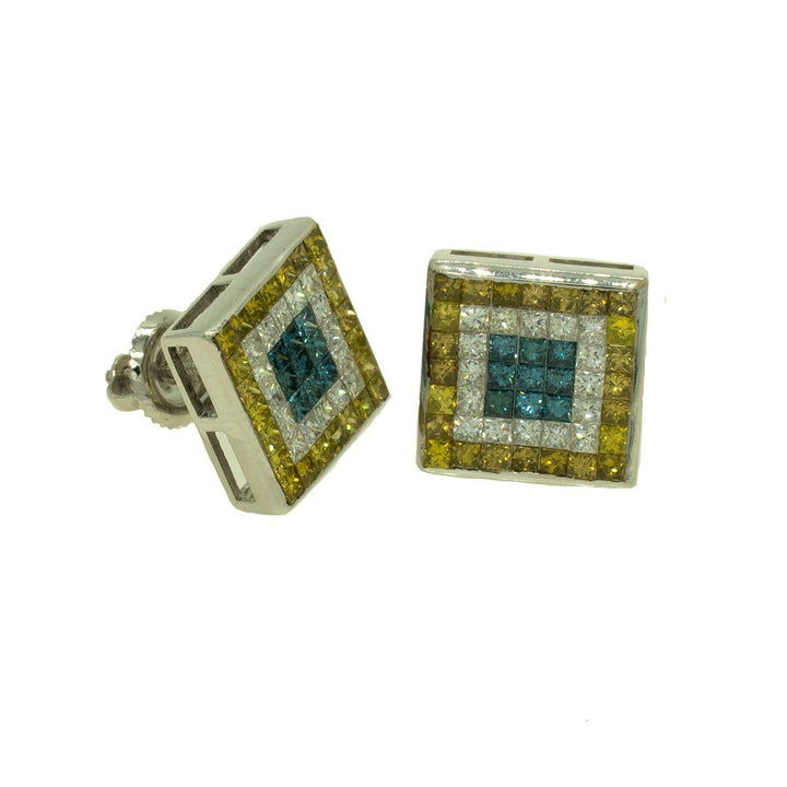 14KT White Gold 3.00ctw Princess Cut Invisible Set Blue Yellow and White Diamond Earrings - Giorgio Conti Jewelers