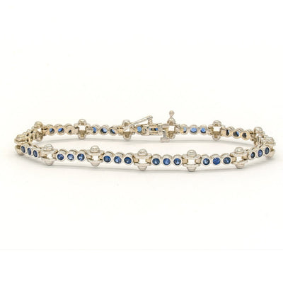14KT White Gold 3.00CTW Round Brilliant Cut Bezel Set Natural Sapphire Bracelet - Giorgio Conti Jewelers