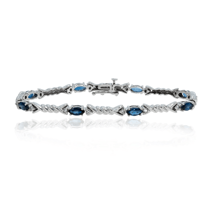14kt White Gold 3.48ctw Natural Sapphire and Diamond Tennis Bracelet - Giorgio Conti Jewelers