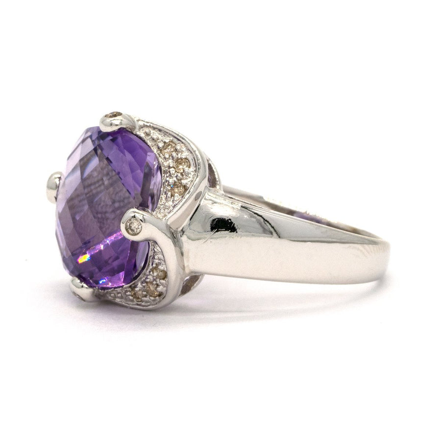 14KT White Gold 4.12CTW Faceted Top Cushion Cut Natural Amethyst and Diamond Ring - Giorgio Conti Jewelers