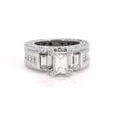 14KT White Gold 4.20ctw Emerald Cut Pave Channel Set Diamond Engagement Ring - Giorgio Conti Jewelers