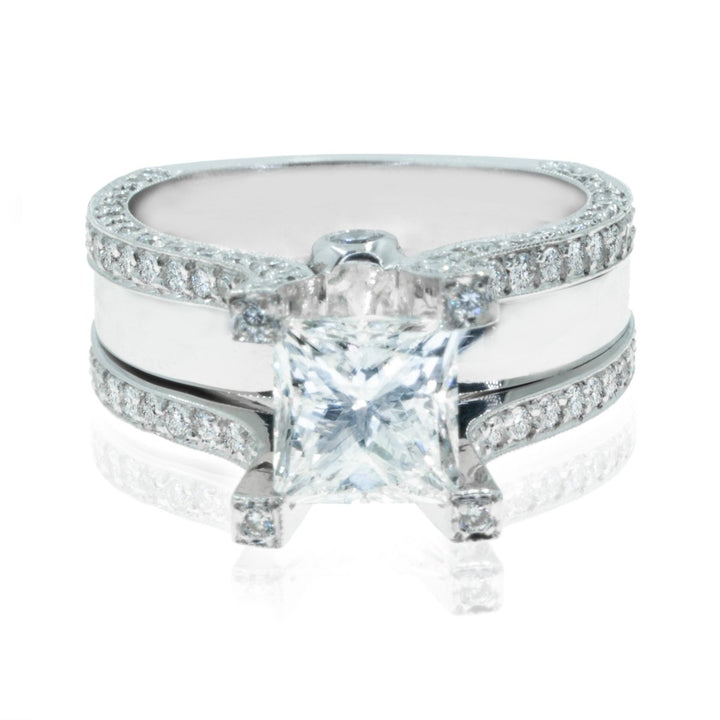 14KT White Gold 4.47CTW Princess Cut Diamond Engagement Ring - Giorgio Conti Jewelers