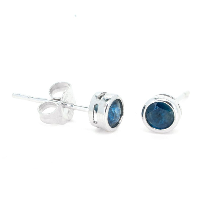 14kt White Gold .50ctw Bezel Set Natural Sapphire Stud Gemstone Earrings - Giorgio Conti Jewelers