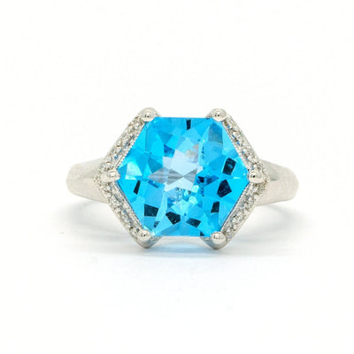 14KT White Gold 5.10CTW Hexagon Fastened Blue Topaz and Diamond Ring - Giorgio Conti Jewelers