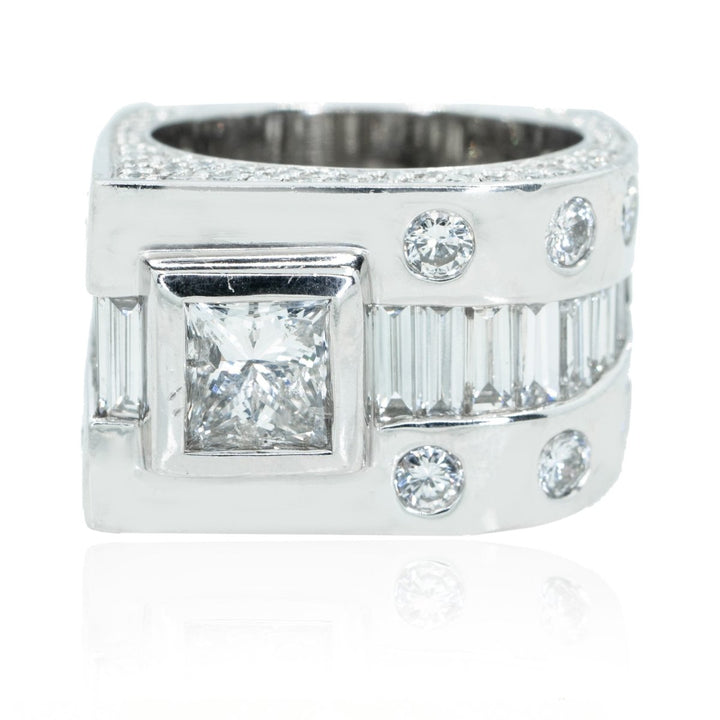 14KT White Gold 6.00CTW Diamond Square Mens Ring - Giorgio Conti Jewelers